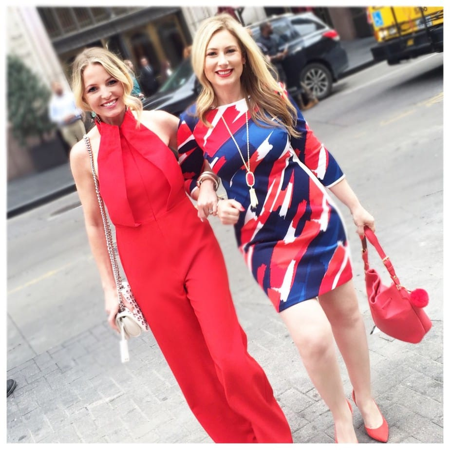 Erin Busbee and Marnie Goldberg of MsGoldgirl in red outfits