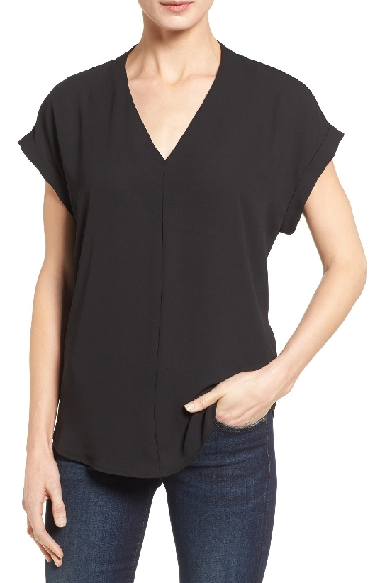 Pleione High Low V-Neck Mixed Media Top is the #1 Top Seller from 2016 on MsGoldgirl