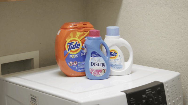 My laundry superheroes: Tide Pods, Tide Free & Gentle, and Downy Fabric Conditioner