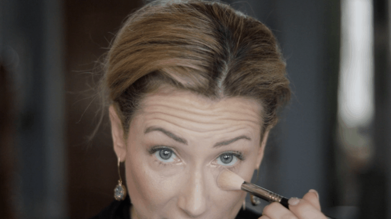 If you're worried about mascara getting on your face, sweep loose powder under your eyes